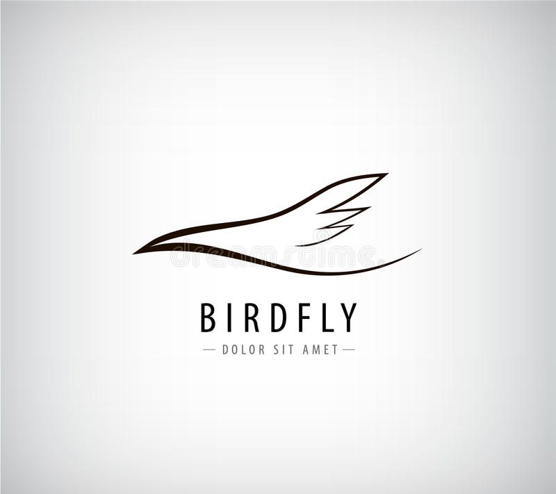 Vektorlinje fågellogo, abstrakt begrepp royaltyfri illustrationer