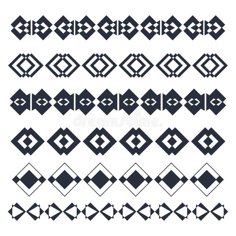 Vektorlinje gränsdesignbeståndsdelar Abstrakta geometriska beståndsdelar royaltyfri illustrationer