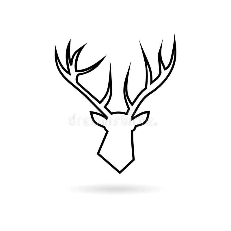 Vektorlinje hjorthuvudsymbol vektor illustrationer