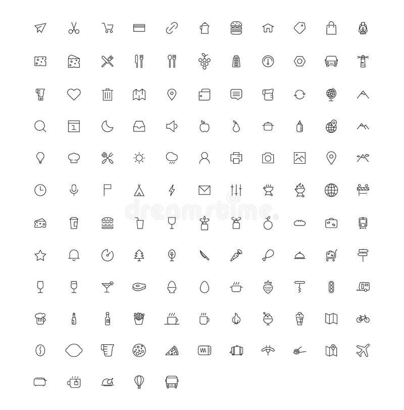 Vektorlinje konstsymbolsuppsättning stock illustrationer