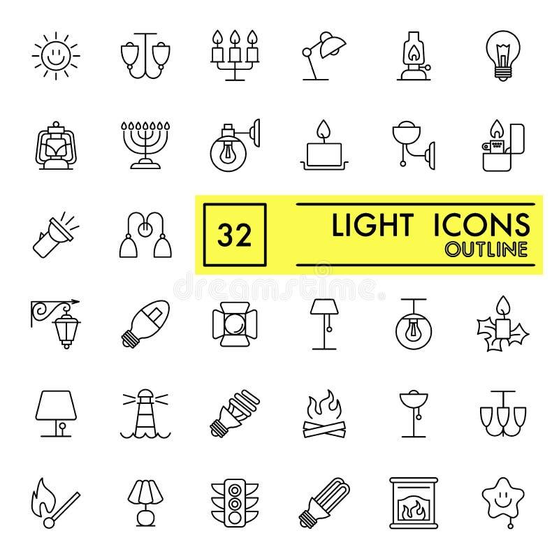 Vektorlinje ljussymbolsuppsättning Plana tunna översiktssymboler på vit bakgrund 10 eps stock illustrationer