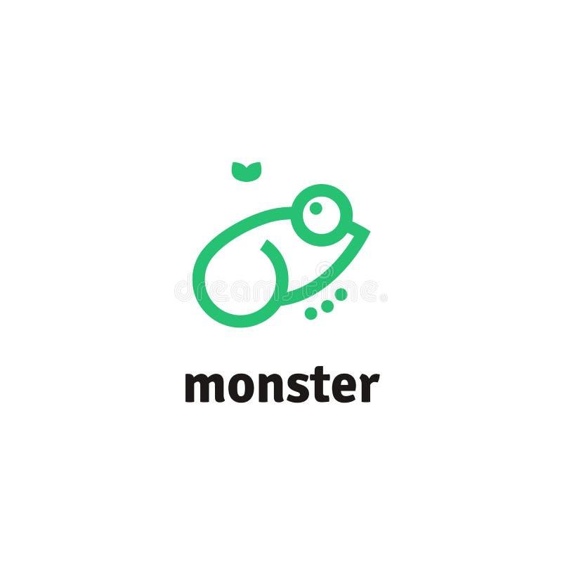 Vektorlinje logotyp av den gröna grodan och flugan Minimalist grodalogo för företag eller projekt vektor illustrationer