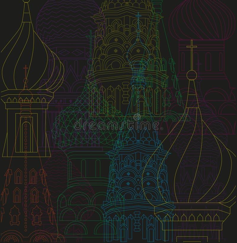 Vektorlinje natt för teckningsillustrationmoscow stad royaltyfri illustrationer