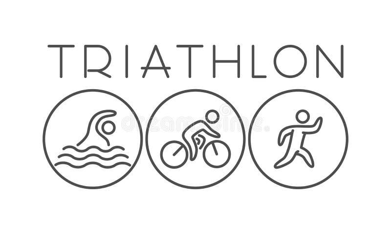 Vektorlinje och plant triathlonlogo och symbol stock illustrationer
