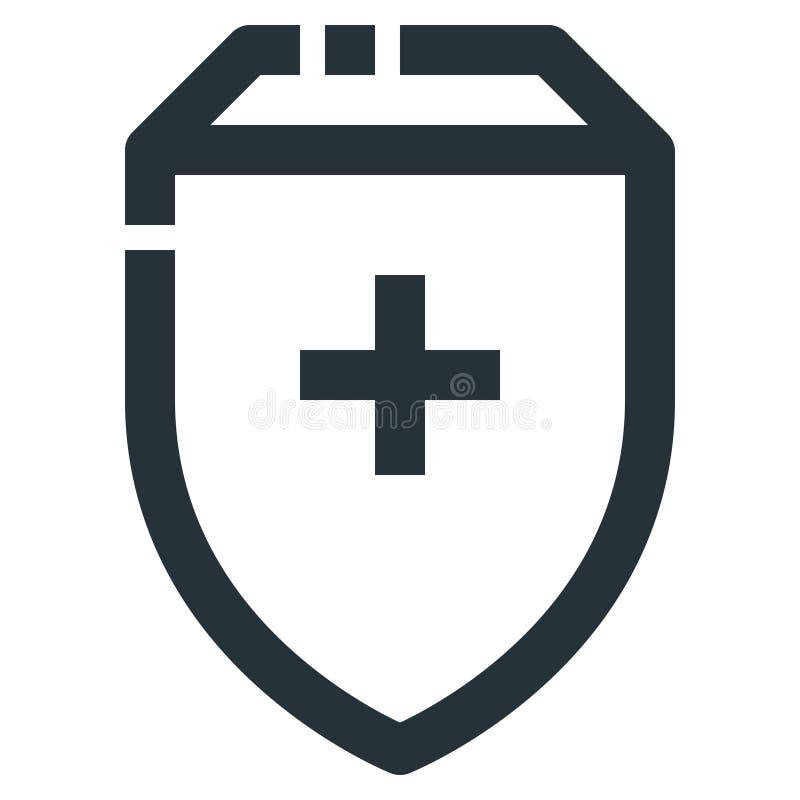 Vektorlinje perfekt PIXEL för vård- skydd för symbol 32x32 redigerbart royaltyfri illustrationer