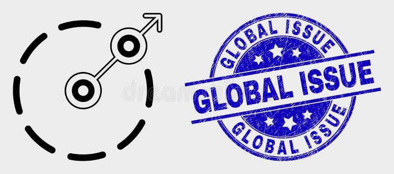 Vektorlinje radiell flyktgränssymbol och global frågevattenstämpel för Grunge royaltyfri illustrationer