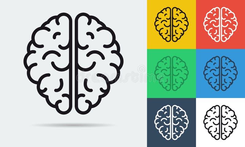 Vektorlinje symbol av hjärnan vektor illustrationer