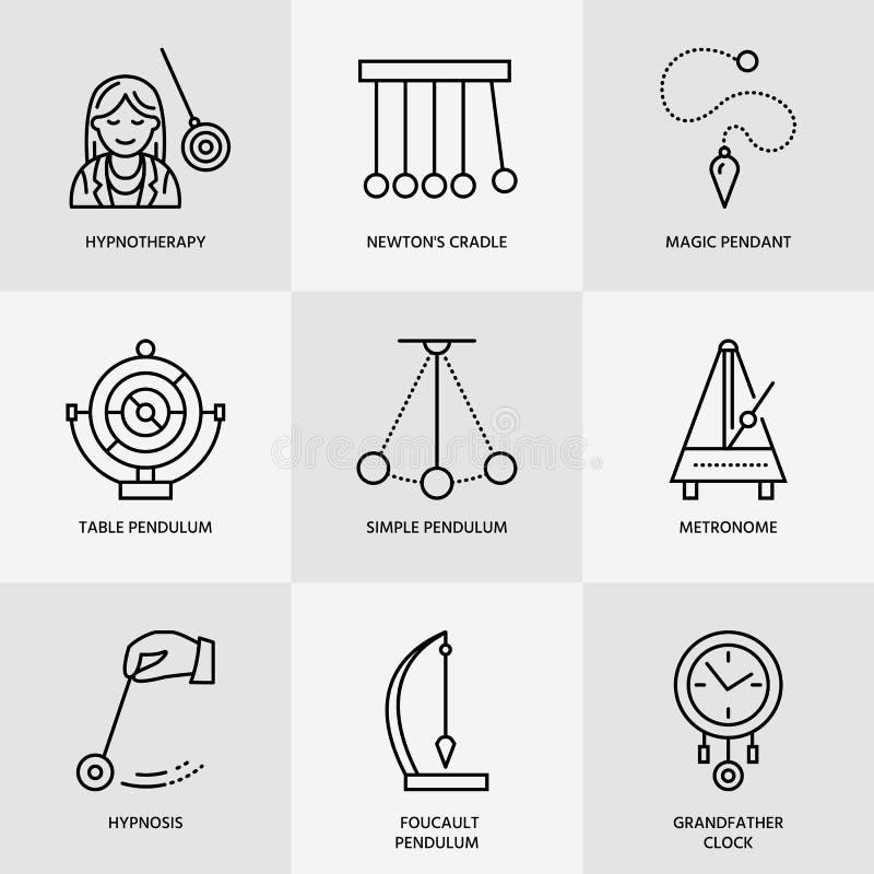 Vektorlinje symbol av klockpendeltyper Newton vagga, metronom, tabellklockpendel, perpetuum mobile, gyroskop Linjär pictogram för royaltyfri illustrationer