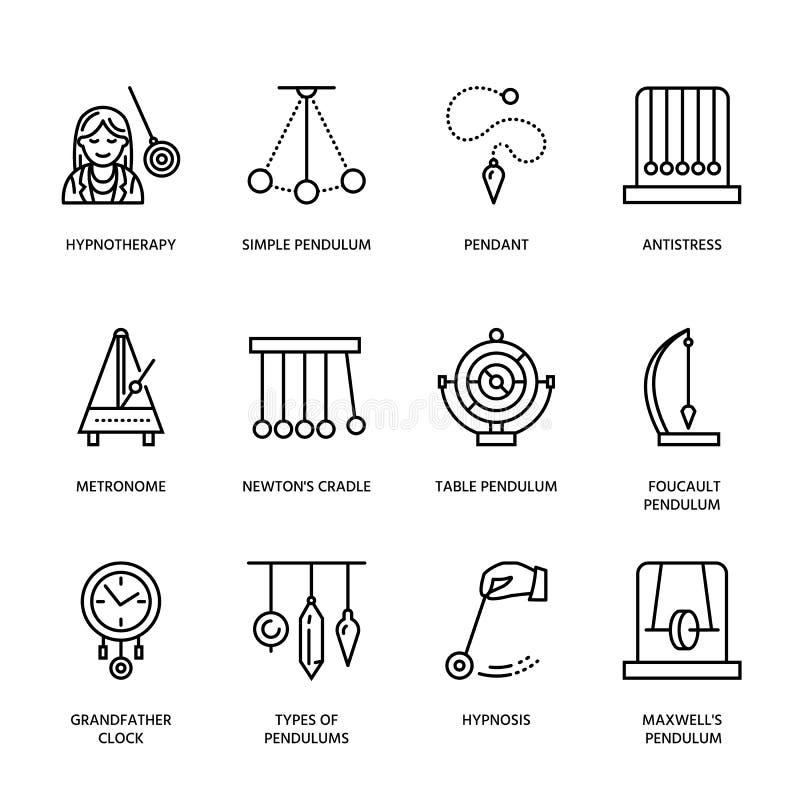 Vektorlinje symbol av klockpendeltyper Newton vagga, metronom, tabellklockpendel, perpetuum mobile, gyroskop linjärt vektor illustrationer