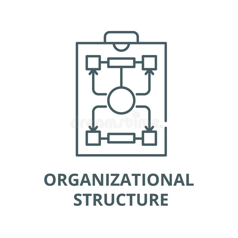 Vektorlinje symbol, linjärt begrepp, översiktstecken, symbol för organisatorisk struktur stock illustrationer