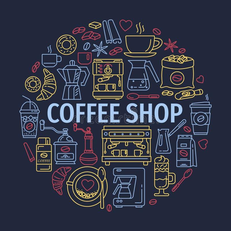 Vektorlinje symboler av coffeemaking utrustning kaffe isolerad set white royaltyfri illustrationer