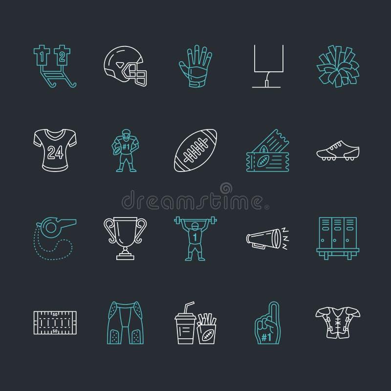 Vektorlinje symboler av leken för amerikansk fotboll Beståndsdelar - boll, fält, spelare, hjälm, megafon Linjär teckenuppsättning stock illustrationer