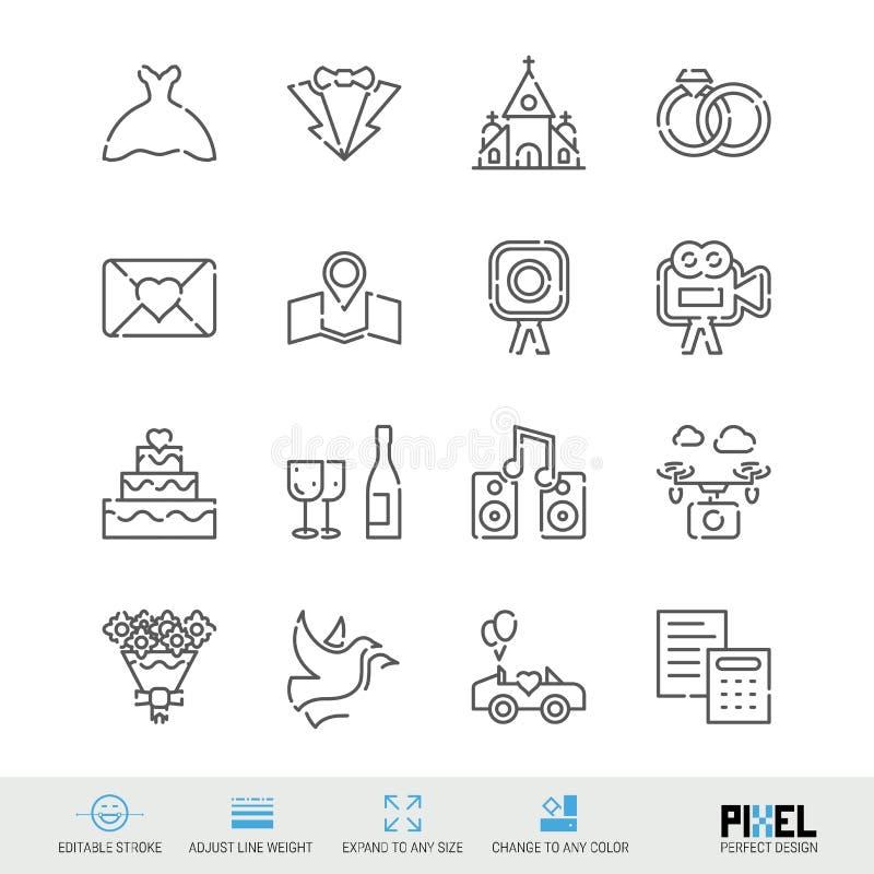 Vektorlinje symboler som gifta sig den släkta uppsättningen Linjära symboler för förbindelse, Pictograms, tecken stock illustrationer