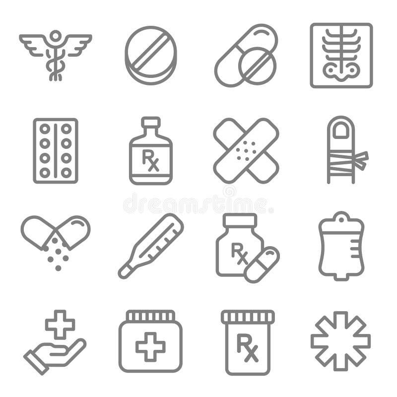 Vektorlinje symbolsuppsättning Innehåller sådana symboler som piller, minnestavla, smärtar, smärtstillande medel, huvudvärkstable royaltyfri illustrationer
