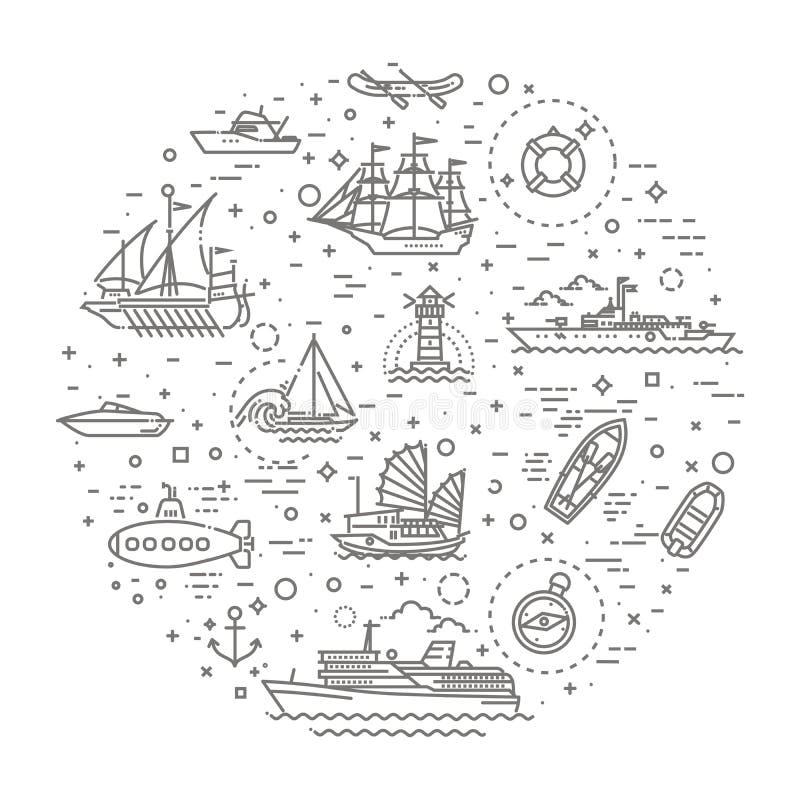Vektorlinje uppsättning av skepp och fartyg stock illustrationer