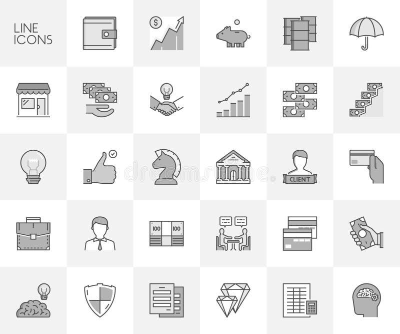 Vektorlinje uppsättning av symboler för finans och investering stock illustrationer