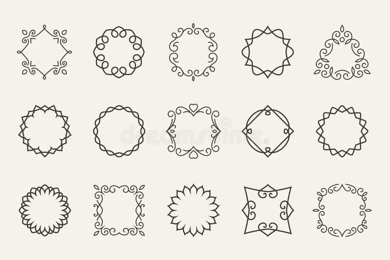 Vektorlinjen emblem och förser med märke ramar för logo eller vektor illustrationer