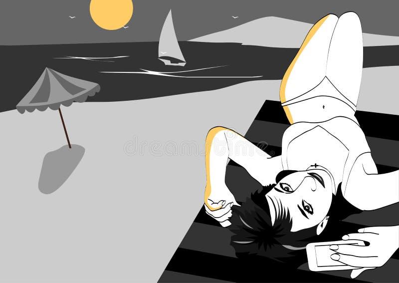 Vektorlinjer Flickan som ligger på stranden och, tar en bild av honom på bakgrunden av havet, fartygen och solen Vektorillustrat royaltyfri illustrationer