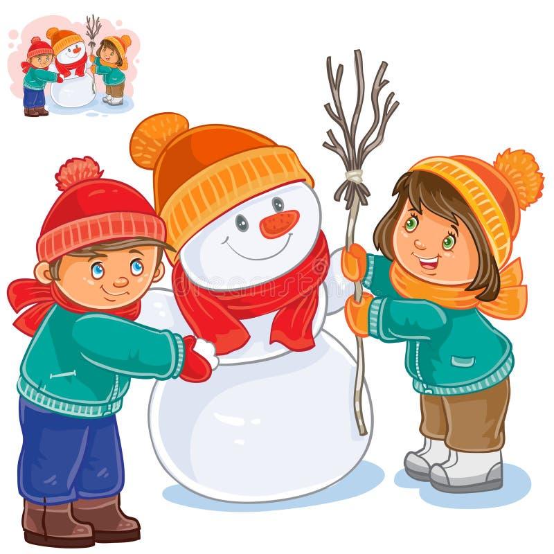 Vektorliten flicka och pojke som gör en snögubbe stock illustrationer