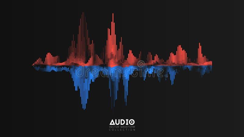 Vektorljudsignalwavefrom Abstrakt musik vinkar svängning Futuristisk visualization för solid våg Syntetisk musikteknologi stock illustrationer