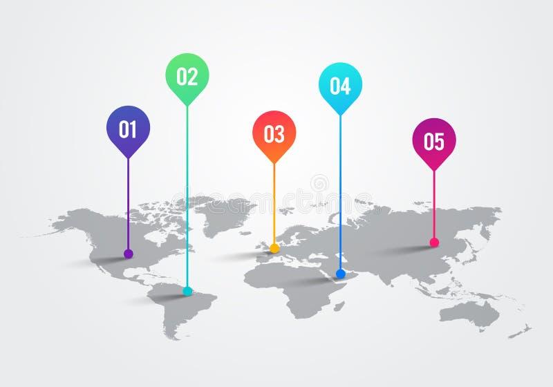 Vektorljusvärldskarta med Infographic pekarefläckar, kommunikationsbegreppsdiagram stock illustrationer