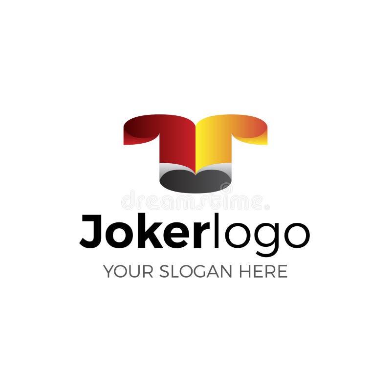 Vektorlogo av joker I rött, gult och svart arkivfoto
