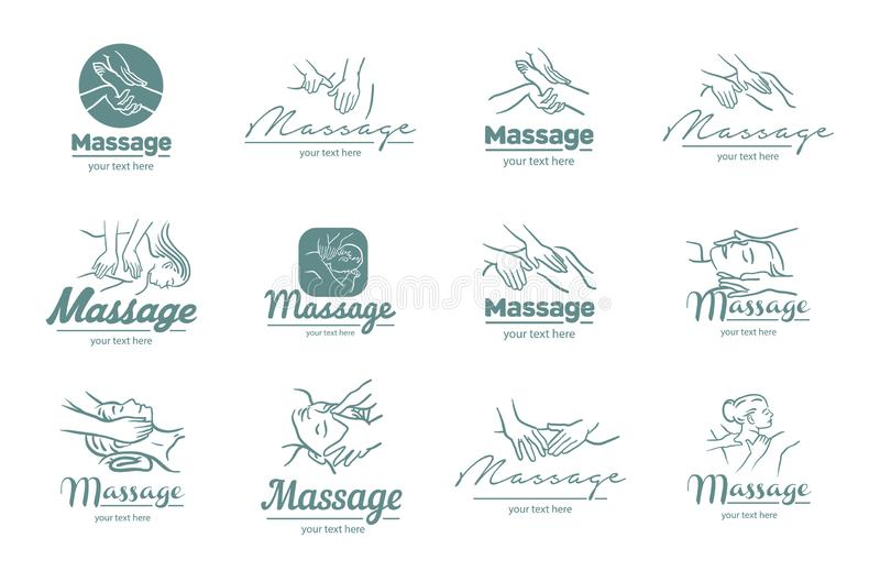 Vektorlogo av massageprocessillustrationen på vit bakgrund royaltyfri illustrationer