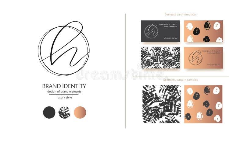 Vektorlogo des Buchstaben H Entwerfen Sie includs zwei Visitenkarteschablonen und zwei nahtlose Muster Goldene metallische Elemen lizenzfreie abbildung