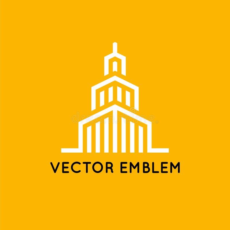 Vektorlogo-Designschablone - Architektur und Gebäude unterzeichnen lizenzfreie abbildung