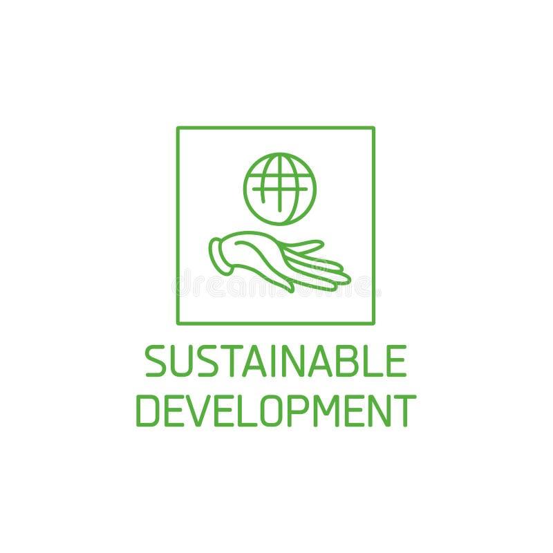 Vektorlogo, emblem och symbol för naturliga och organiska produkter Teckendesign för hållbar utveckling Symbol av sunt stock illustrationer