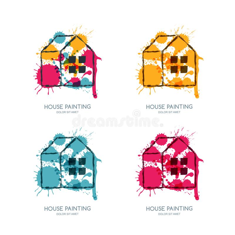 Vektorlogo, emblemdesign med det målade hemmet Service för husmålning, dekorsymbol Begrepp för hem- garnering royaltyfri illustrationer
