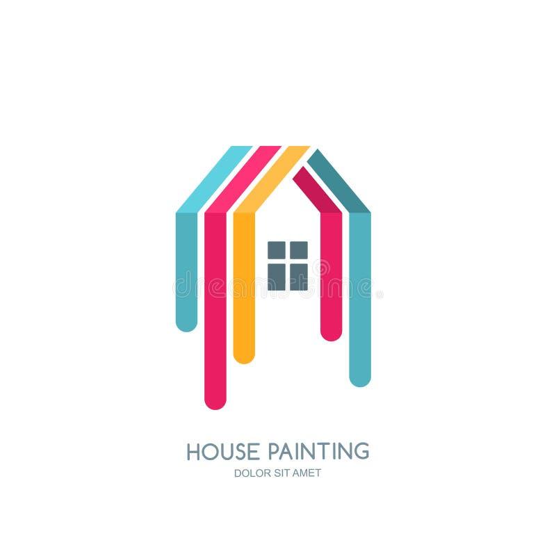 Vektorlogo, emblemdesign med det målade hemmet Service för husmålning, dekorsymbol Begrepp för hem- garnering stock illustrationer