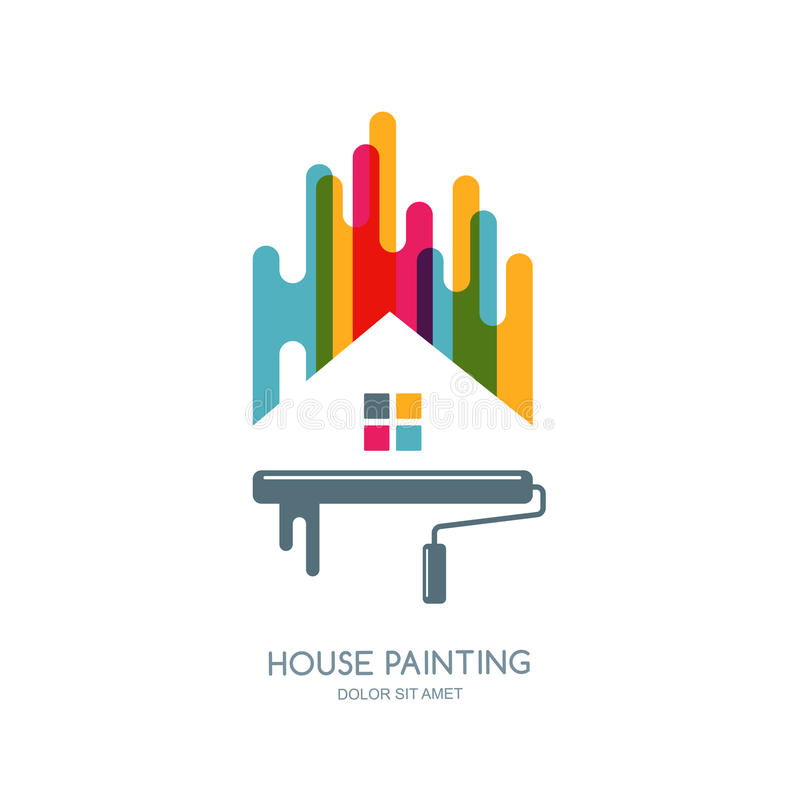 Vektorlogo, etikett eller emblemdesign Service för husmålning, dekor och flerfärgad isolerad symbol för reparation royaltyfri illustrationer