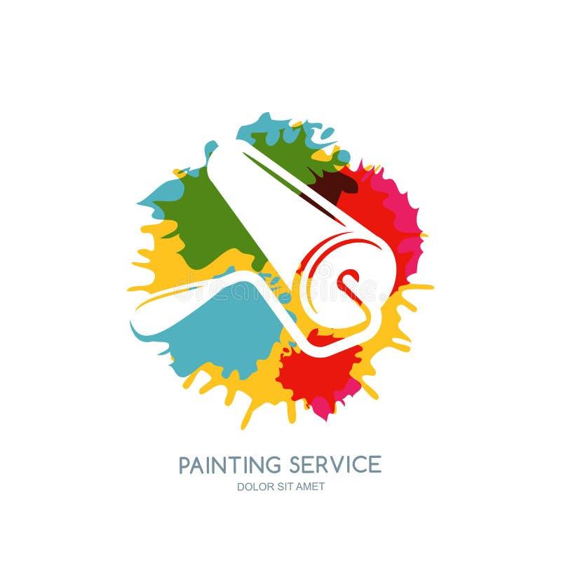 Vektorlogo-, etikett-, symbols- eller emblemdesignbeståndsdel Målarfärgrullen på vattenfärgmålarfärger plaskar bakgrund royaltyfri illustrationer