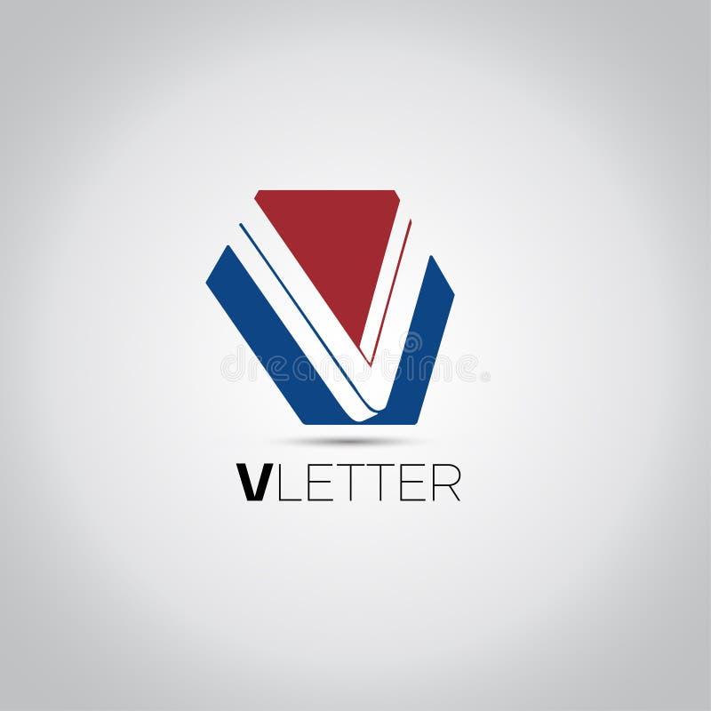 Vektorlogo för bokstav V vektor illustrationer