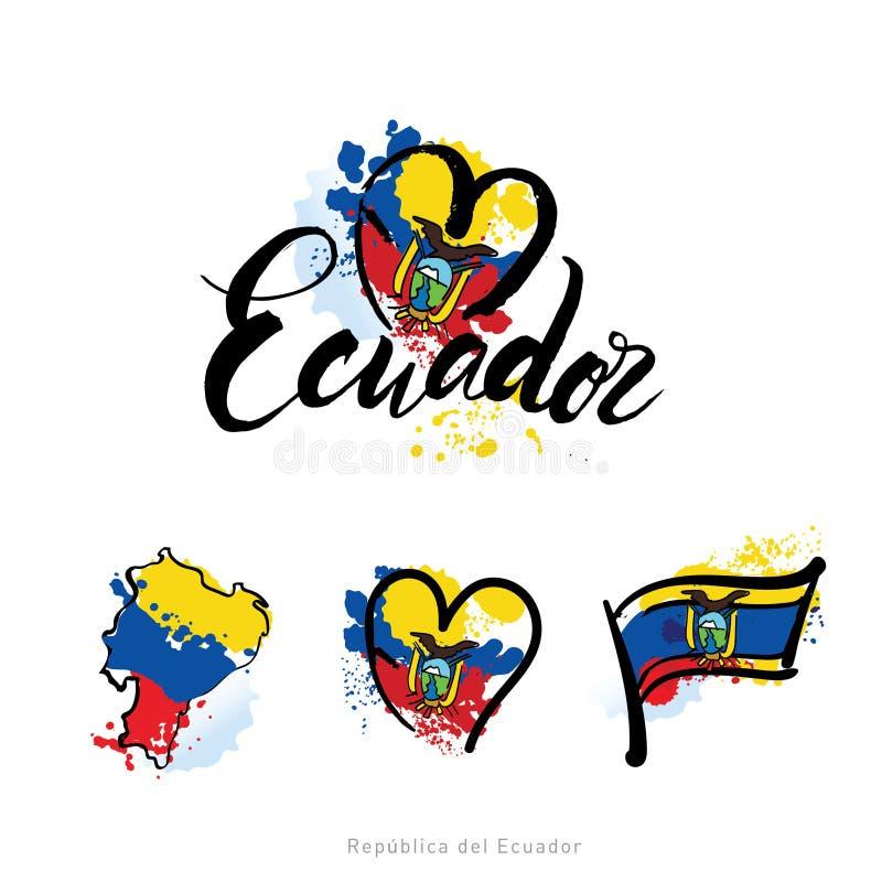 Vektorlogo för det Ecuador landet, kylmagnet med den ecuadorian flaggan, original- borstestilsort för ordet Ecuador som är nation stock illustrationer