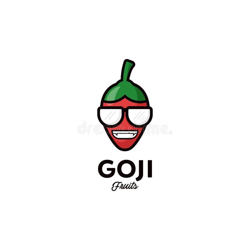 Vektorlogo för det Goji bäret, frukter, rolig tecknad film och kallt royaltyfri illustrationer