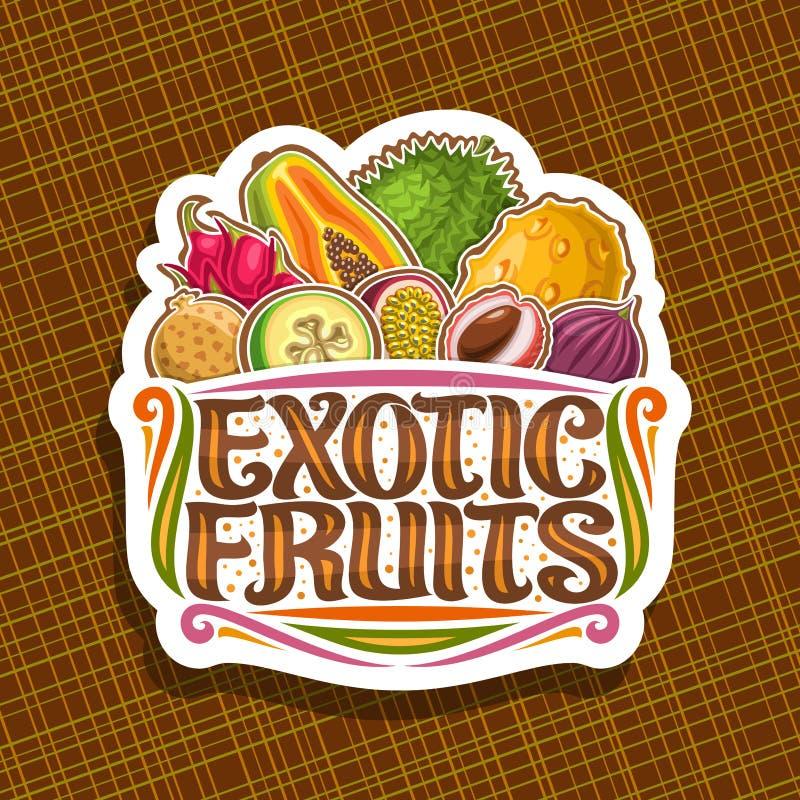 Vektorlogo för exotiska frukter royaltyfri illustrationer