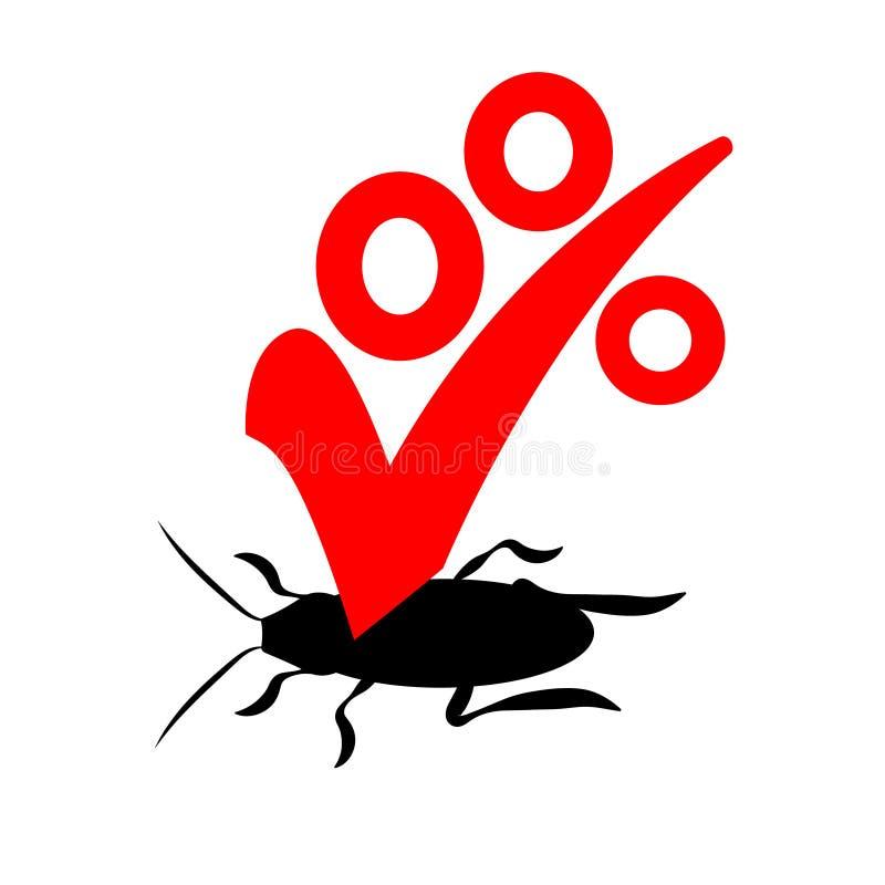 Vektorlogo för företaget för förstörelsen av kryp med en garanti Tecken för kontroll för desinfektör eller för plåga röd och svar royaltyfri illustrationer