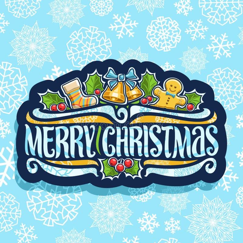 Vektorlogo för glad jul royaltyfri illustrationer