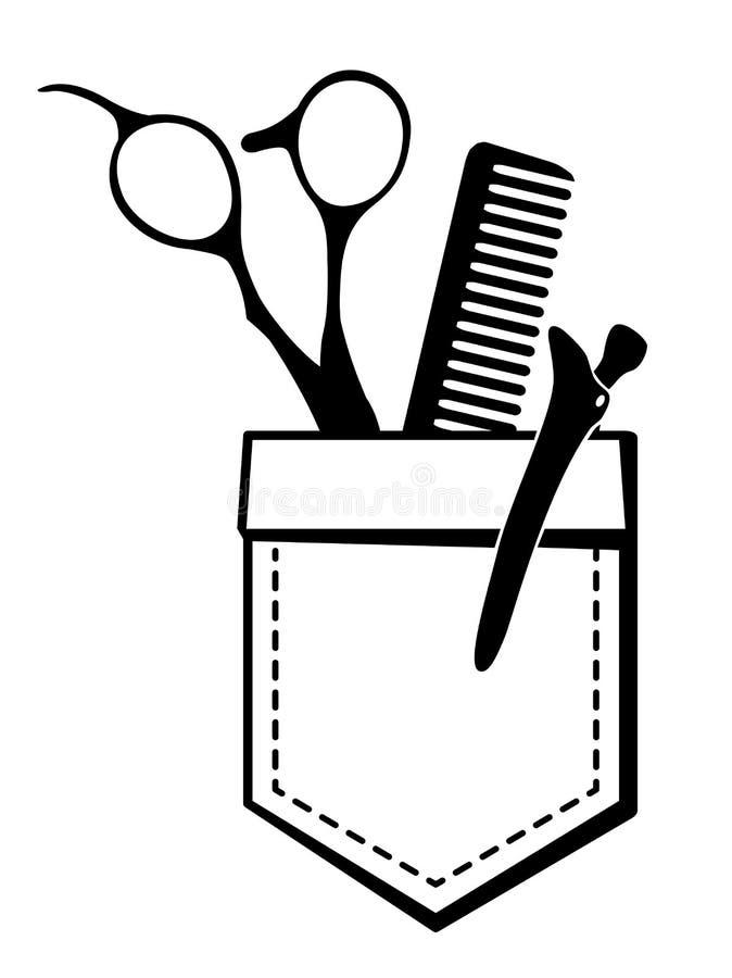 Vektorlogo för hårsalong med sax och hårkammen vektor illustrationer