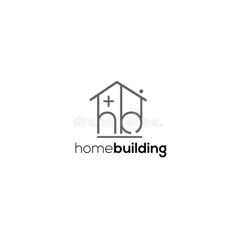 Vektorlogo för hem- byggande Byggfirmalogo H b-bokstavslogo stock illustrationer