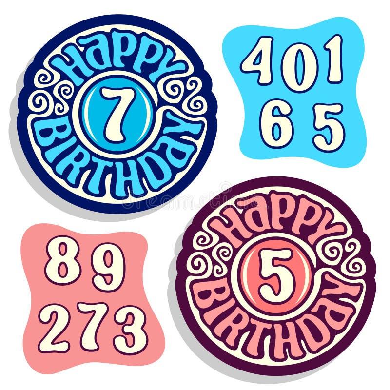 Vektorlogo för lycklig födelsedag royaltyfri illustrationer
