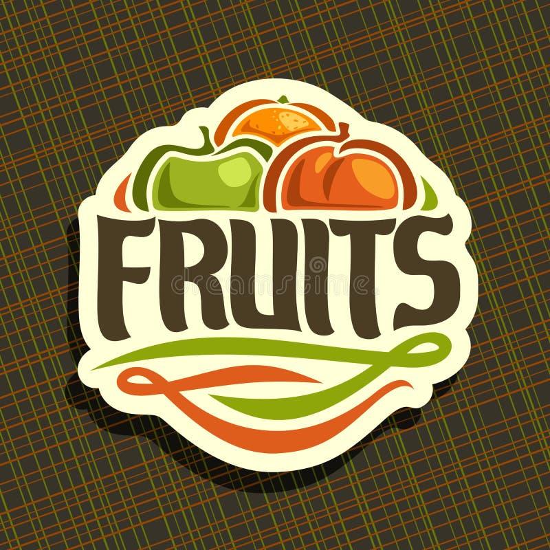Vektorlogo för nya frukter för uppsättning vektor illustrationer