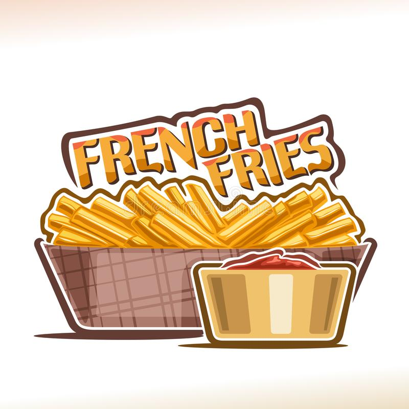 Vektorlogo för pommes frites stock illustrationer