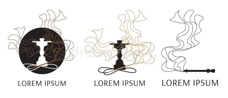 Vektorlogo för vattenpipa, med bilden av rök vektor illustrationer