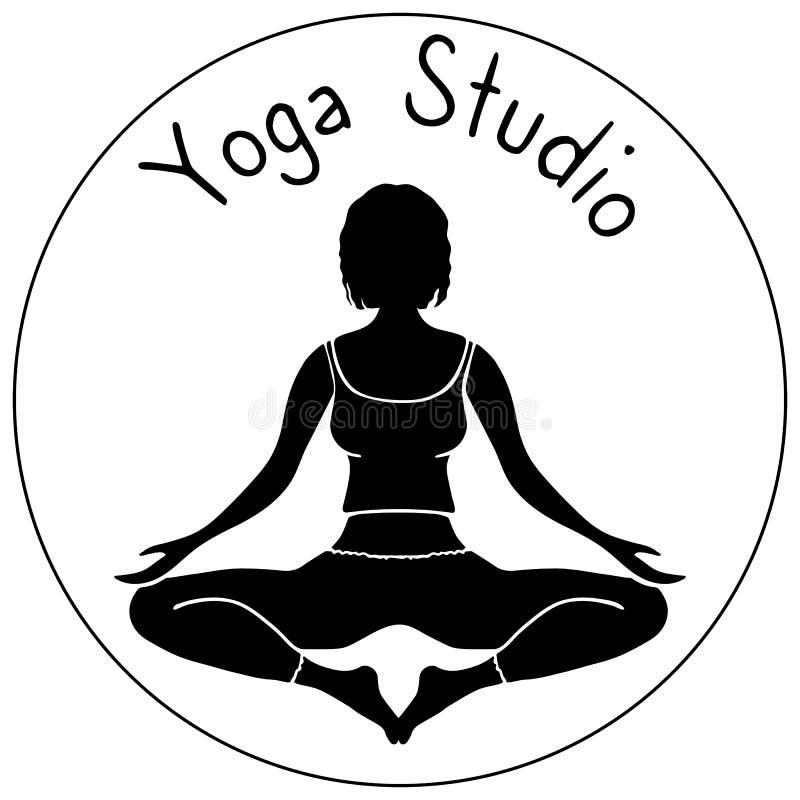 Vektorlogo för yogastudio en flicka i lotusblomma poserar royaltyfri illustrationer