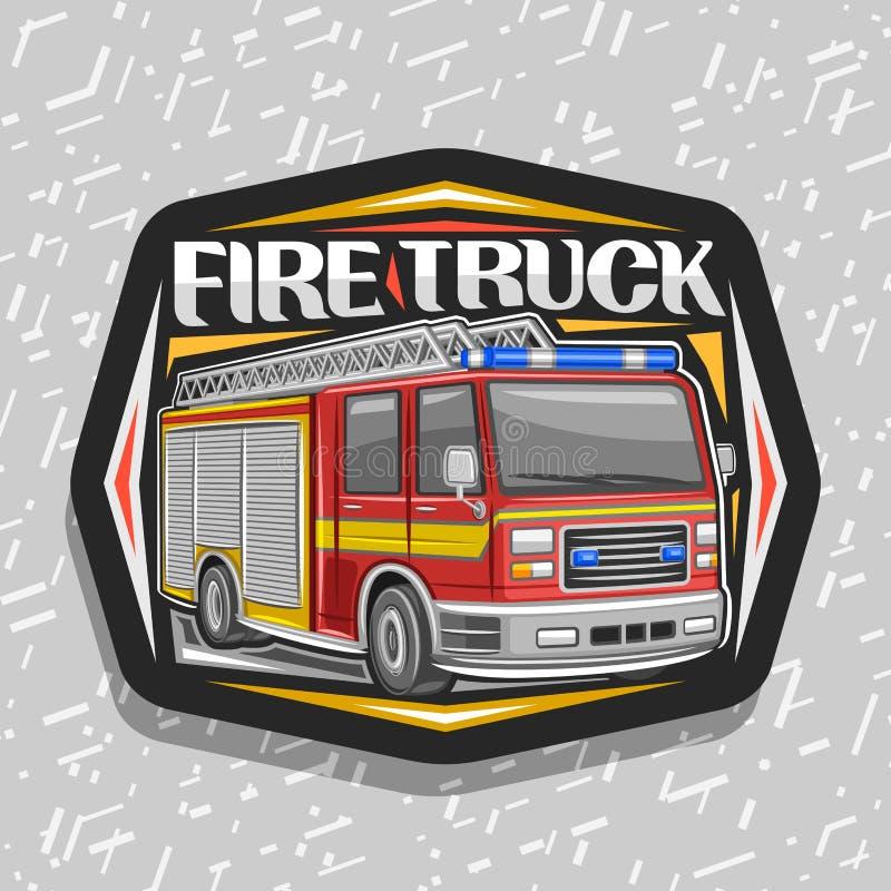 Vektorlogo f?r brandlastbil vektor illustrationer