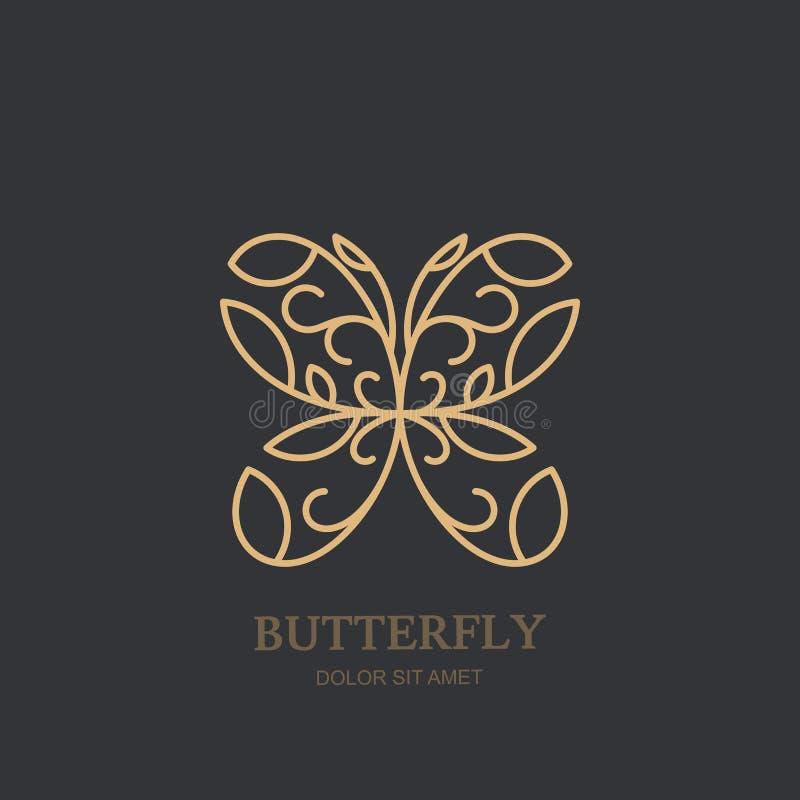 Vektorlogo oder -emblem mit goldenem Schmetterling Konzept für Luxusschmuck, Zubehörspeicher, Schönheitsbadekurortsalon, Kosmetik vektor abbildung
