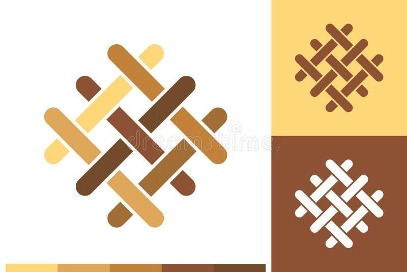 Vektorlogo, symbol eller tecken med golvet, parkett, laminat, tegelplattor, inredning, timmerbeståndsdelar i naturliga färger för vektor illustrationer